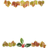 Square holly and ivy frame Royalty Free Stock Photos