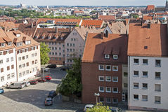 Square with houses in Nuremberg Stock Photo