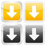 Square icon arrow down Stock Photos