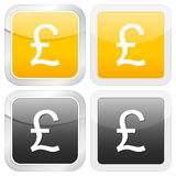 Square icon british pound. Vector illustration Stock Images