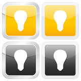 Square icon bulb Stock Photography
