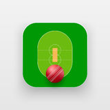 Square icon of cricket sport Stock Photography