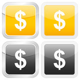 Square icon dollar Royalty Free Stock Photos