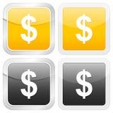 Square icon dollar Royalty Free Stock Photos