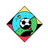 A square icon with a football. Vector icon. Sport illustration. Vintage, retro style. Image is isolated on white background. Flat. Illustration for banner royalty free illustration