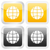 Square icon globe Royalty Free Stock Photography
