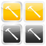 Square icon hammer Stock Photo