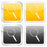 Square icon magnifier Stock Images