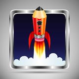 Square icon with metal frame. Flying rocket in form of pencil. On gray background. Web button Stock Photo