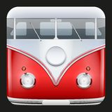 Square Icon Popular bus classic Camper Van Royalty Free Stock Image