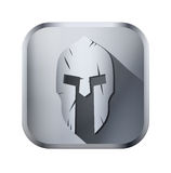 Square icon of Spartan helmet with scratches from Royalty Free Stock Photo