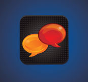 Square icon with speech bubbles Stock Photos