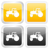 Square icon tractor Stock Photo