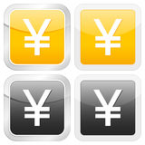 Square icon yen. Vector illustration Stock Images