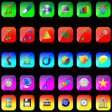 Square icons 02.12.12. A small collection of colored icons and buttons for different needs royalty free illustration