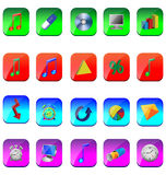 Square icons. A small collection of colored icons and buttons for different needs Royalty Free Stock Photography