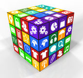 Square of with icons Stock Image