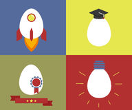 Square icons with egg as rocket, knowledge, Stock Photo