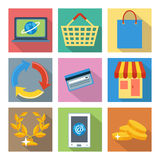 Square icons for internet shopping and banking Stock Photography