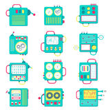 Square icons machines Stock Photos