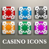 Square icons multicolor casino chips Royalty Free Stock Image