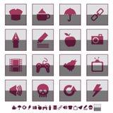 Square icons set 2 Royalty Free Stock Photos