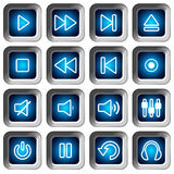 Square Icons Set - Player Buttons stock images