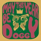 Square illustration of a dog with the writting may the year be doggy in a psychedelic style Stock Image