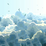Square illustration of flock, blue sky and clouds. Royalty Free Stock Images