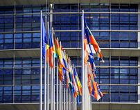 All European Union Flags Strasbourg Strasburg. Square image of front view of all members European Union flags waving in front of European Parliament building on Stock Image