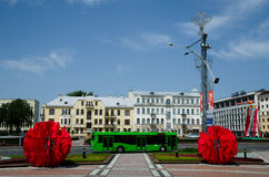Square of Independence in Minsk, Belarus. MINSK, BELARUS - JULY 3: Square of Independance on July 3, 2012 in Minsk. Main city Square on Day of Independence of Royalty Free Stock Photo