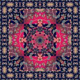 Square indian rug with flower - mandala and ornamental border. Stock Image
