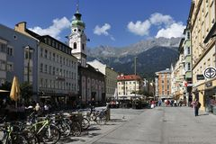 Square in Innsbruck. The town square on Maria-Theresa street in Innsbruck - Austria Stock Images