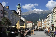 Square in Innsbruck. The town square on Maria-Theresa street in Innsbruck - Austria Royalty Free Stock Images