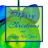 A square invitation to a party. Christmas ball. Text - Happy Christmas and New Year. Watercolor vector illustration