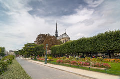 Square Jean XXIII near the catholic cathedral Notre-Dame de Paris. Royalty Free Stock Photo