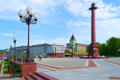 Square. Kaliningrad, Russia - May 30, 2013: Central part of the city of Kaliningrad with the adjacent buildings on Victory square Royalty Free Stock Images