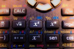 Square key of the keyboard of a scientific calculator stock photo