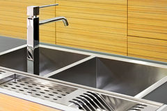 Square kitchen sink Royalty Free Stock Photos