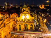 Square of the Knights of the Cross. Krizovnicke namesti, at Charles Bridge. Aerial night shot, Prague, Czech Republic Royalty Free Stock Images