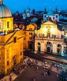 Square of the Knights of the Cross. Krizovnicke namesti, at Charles Bridge. Aerial night shot, Prague, Czech Republic Royalty Free Stock Photography