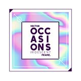 Iridescent Holographic Sqaure Frame Design. A square label design with a iridescent holographic texture background. Vector illustration Royalty Free Stock Images