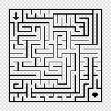 A square labyrinth with a black stroke. An interesting game for children and adults. A simple flat vector illustration isolated on. A transparent background Royalty Free Stock Photos