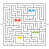 A square labyrinth. Collect all the colorful bows and find a way out of the maze. An interesting game for children. Simple flat ve. Ctor illustration Royalty Free Stock Images