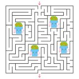A square labyrinth. Collect all the flower pots and find a way out of the maze. An interesting game for children. Simple flat vect. Or illustration Stock Images