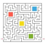 A square labyrinth. Collect all the geometric shapes and find a way out of the maze. An interesting game for children. Simple flat. Vector illustration Stock Photo