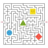A square labyrinth. Collect all the geometric shapes and find a way out of the maze. An interesting game for children. Simple flat. Vector illustration Royalty Free Stock Image