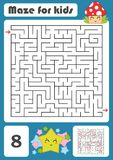 A square labyrinth. Developmental game for children. Vector illustration. Color design with cute cartoons. A square labyrinth. Developmental game for children Stock Images