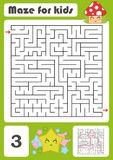 A square labyrinth. Developmental game for children. Vector illustration isolated on white background. Color design with cute cart. Oons Royalty Free Stock Photo