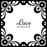 Square lace frame. Black lace on white background, square ornamental frame Royalty Free Stock Photos